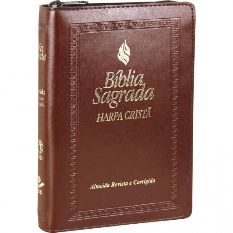 Bíblia com Harpa Cristã Média com Índice e Zíper Marrom