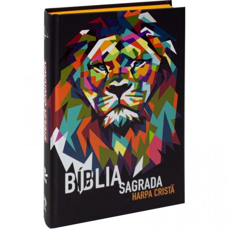 Bíblia Jovem Impactar com Harpa Cristã Capa Dura Leão
