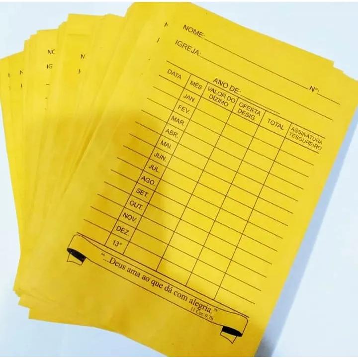 Envelopes para Dízimos e Ofertas