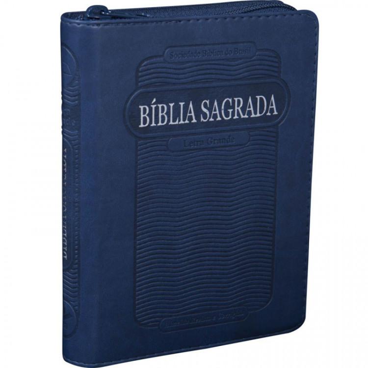 Bíblia Compacta com Letra Grande com Índice e Zíper Azul
