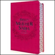 Bíblia de Estudo da Mulher Sábia com Harpa Letra Grande Pink