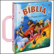 Bíblia Primeiros Passos com Jesus com Alça Rosa