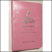 Bíblia Feminina com Harpa Cristã Letra Gigante Rosa